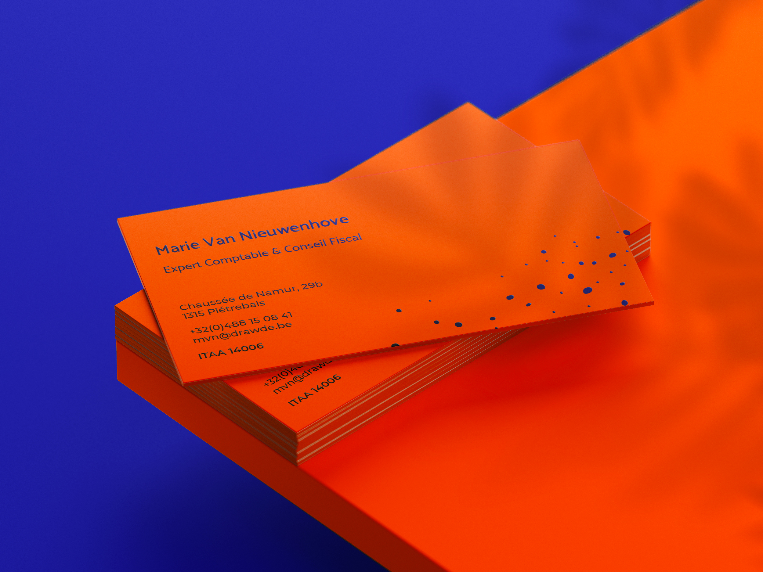 Drawde business cards, back view.