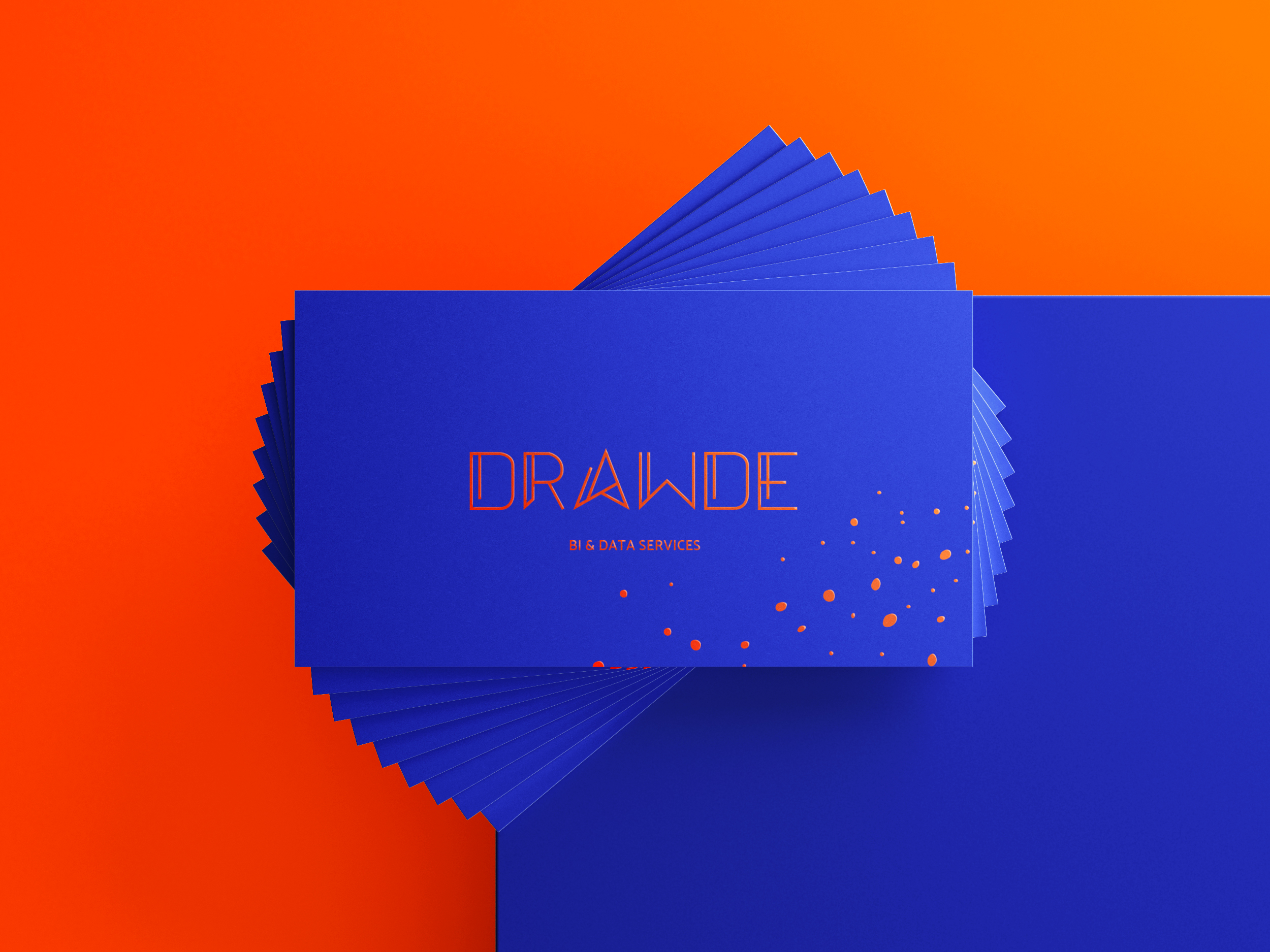 Blue Drawde business cards, front view.