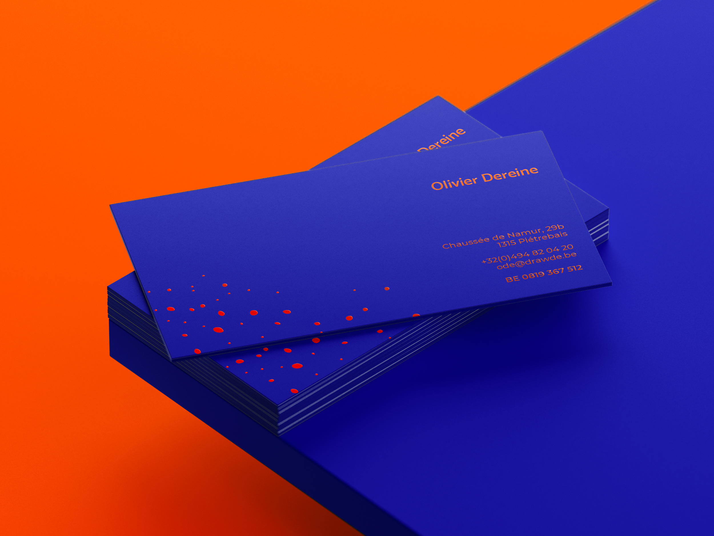 Blue Drawde business cards, back view.