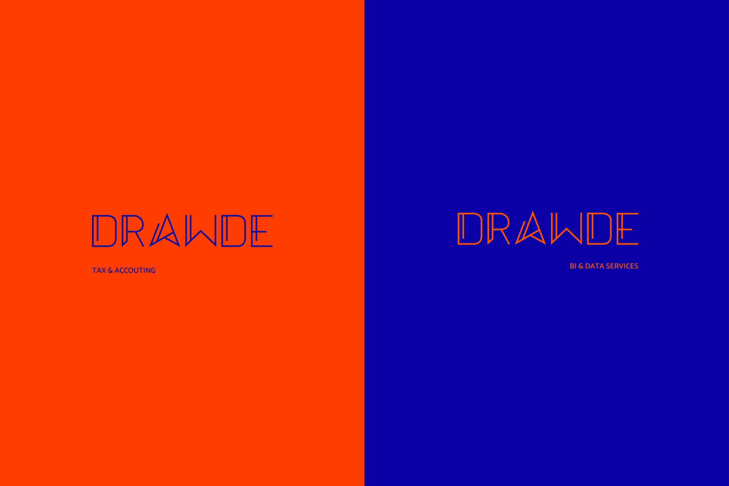 Version of the Drawde logo. In orange for her and blue for him.