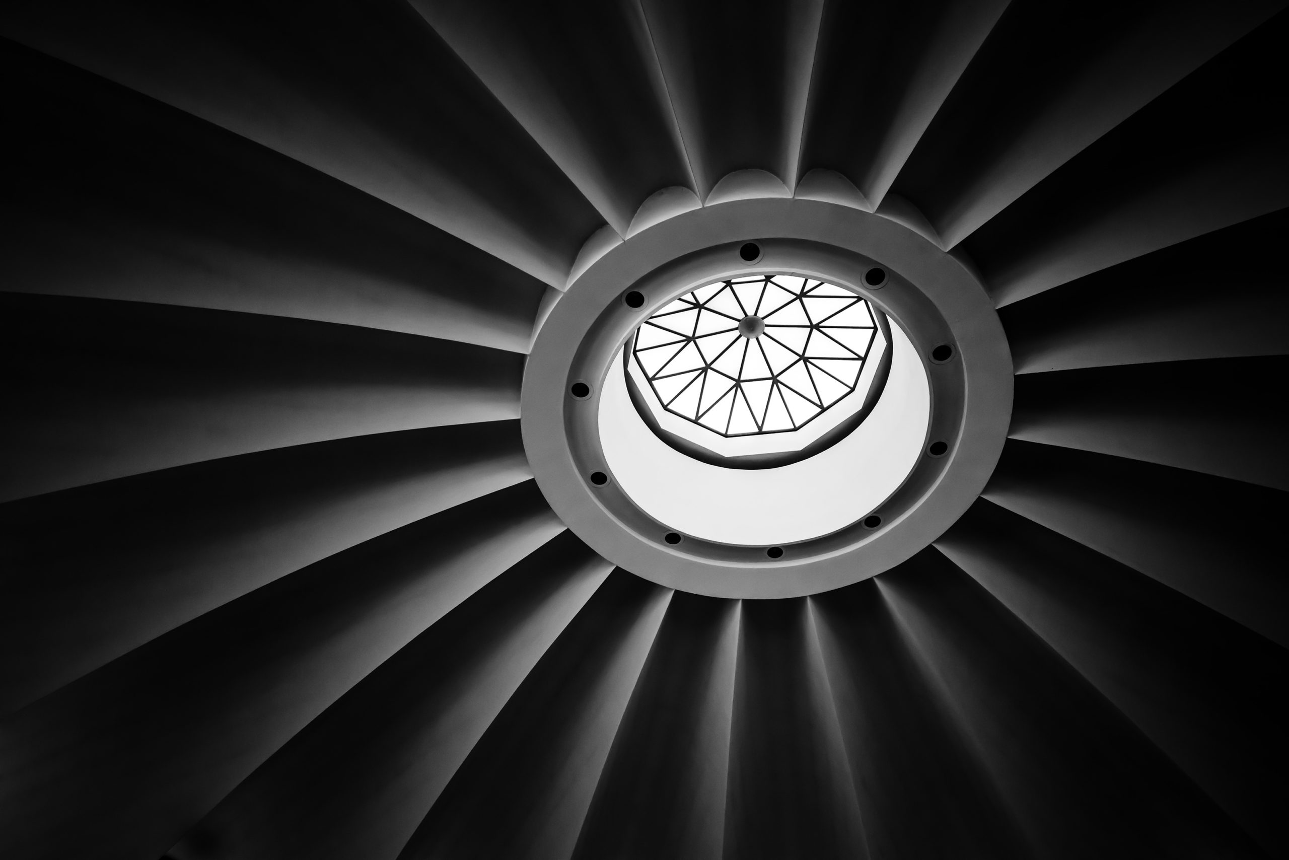 Black and white image under a dome.